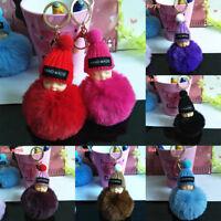 New Cute Sleeping Baby Doll Keychain  Rabbit Fur Ball  Car Keyring Bag Pendant