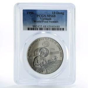 Vietnam 10 dong World Food Summit Woman Holding Grain MS68 PCGS CuNi coin 1996