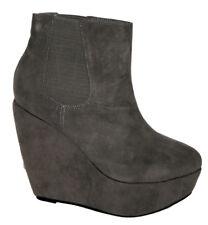 Ladies Platform Wedge Gusset Boot Grey Size 5