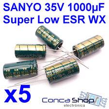 5 x CONDENSADOR ELECTROLITICO SANYO 35V 1000uF 105º WX-WG SUPER BAJA IMPEDANCIA