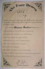 The Four Deuces House Rules Poster 11 x 17, Al Capone, bar, gin joint, speakeasy