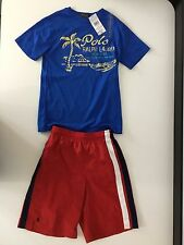 Ralph Lauren Polo Boys Outfit, Size Age 8 T Shirt & Age 10 Swim Shorts, NEW,