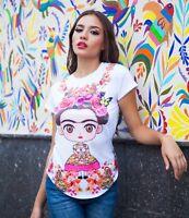 Frida Kahlo Floral Collar Cartoon T-Shirt (white)