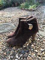 Vic Matie Brown Suede Ankle Boots Size 7 High Heeled Boots B6