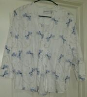 Alfred Dunner Womens Blue White Butterfly Button Down Shirt Top Blouse Size 20