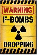 Warning F-Bombs Dropping steel fridge magnet  (de)