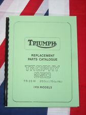 Parts Manual 1970 Fits Triumph TR25w Trophy 250cc Single Cylinder Book Catalog