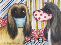 Afghan Hound in Quarantine Mask Original 9 x 12 Pastel Painting Dog Art by KSams