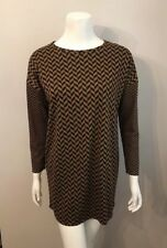 Stunning Topshop Brown Black Chevron Striped Tunic Sweater Size 2