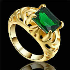 Size 6 Big Stone Emerald CZ  Wedding Ring 10KT Yellow Gold Filled jewelry