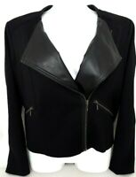 APT 9 Womens Jacket Asymmetrical Zip Black 2 Pocket Moto Coat Size Petite XL