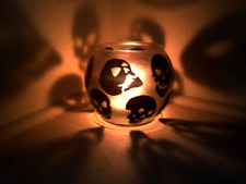 SKULLS Candle Holders Hand Painted FOR FUN PARTY LIGHT Halloween
