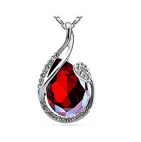 Beau collier pendentif plaqué or cristal strass, goutte rouge joaillerie neuf