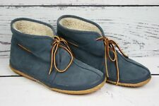 DANIEL GREEN Blue Suede Fleece Lined Indoor Outdoor Bootie Slippers Womens 7.5 M
