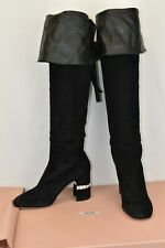 MIU MIU 5W138C BLACK SUEDE CRYSTALS JEWELED OVER THE KNEE HEEL  HIGH BOOTS 39.5