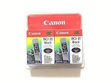 x2 Genuine Canon BCI-21 Black ink cartridge Brand New Sealed expired