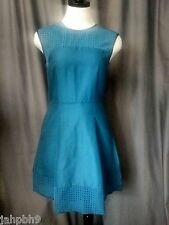 J. CREW PERFORATED A-LINE DRESS PEACOCK BLUE SIZE 10 NWT