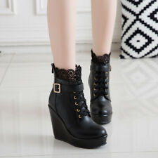 Goth Women Buckle Strap Lace Up Wedge High Heel Platform Ankle Boots Lace Shoes