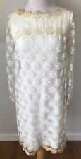 Vintage 1960s Mod Mini Wedding Dress Lace Bohemian Hippie