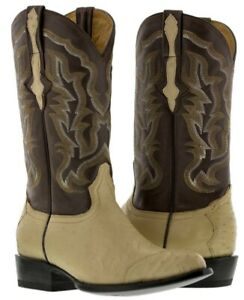 mens sand beige oryx real ostrich skin 3 piece western leather cowboy boots