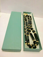 vintage Trifari Necklace black beads gold tone spacer beads boxed