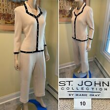 ST JOHN Size 10/Medium Taupe/Beige Santana Wool Stretch Knit 2-Piece Pantsuit