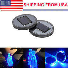 2PC Solar Cup Pad Car Accessories LED Light Cover Interior Decoration Lights USA