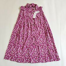 Cute Per Una M&S Purple Floral A Line Pleated Midi Floating Belted Skirt Size 8