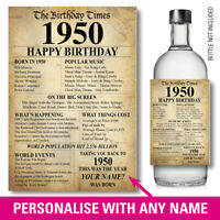 1950 70th PERSONALISED GIN VODKA WINE bottle label birthday Year born Facts 149