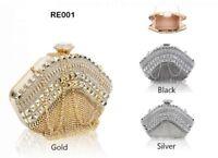 Evening New Diamante Diamond Crystal bag clasp Clutch Purse Party Wedding Prom