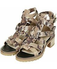 Topshop Snake Print Sandals With Chunky Heel 100% Leather UK Size 7 Animal Print