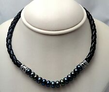 Dyed Fresh Water Pearl Sterling Silver & Black Leather 16 inch Necklace