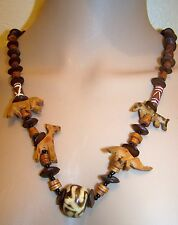 HAND CARVED AFRICAN ANIMAL NECKLACE WITH AFRICAN COCO BEADS