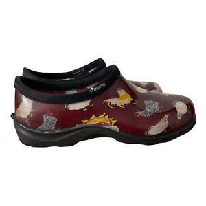 Sloggers Womens Red Chicken Barn Round Toe Waterproof Slip On Animal Shoe Size 8