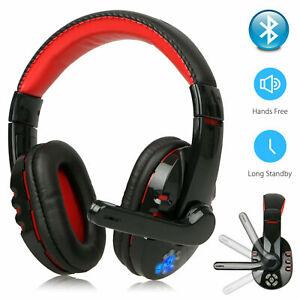 Bluetooth Wireless Gaming Headset Kopfhörer LED Mikrofon für PC Laptop PS4 Xbox