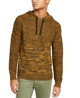 INC Mens Sweater Black Splendor Gold Size Small S Marled Knit Hooded $59 #004