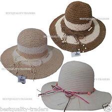 Ladies Crushable Straw  Wide Brim Hat Summer Sun Beach Foldable Vintage
