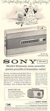 1959 Sony Model TR 810 & TR 712 Portable Transistor Radio PRINT AD