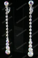 "CLIP ON screw 2.5""long RHINESTONE CRYSTAL drop EARRINGS diamante non-pierced"