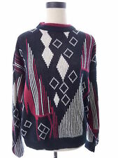 Men's Vintage Black Red 80's Sweater Today's News Size Large Oversized