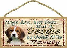 """Dogs Are Just Pets But A Beagle Is Part Of The Family Dog Sign Plaque 5""""x10"""""""