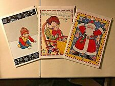3 Mary Engelbreit Vtg 1987 Collectible Christmas Cards Sunrise Publications Mint