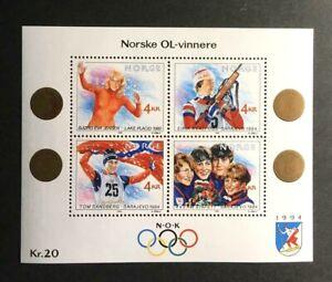 Norway Scott's #946 1989 Olympic winners souvenir sheet, MNH