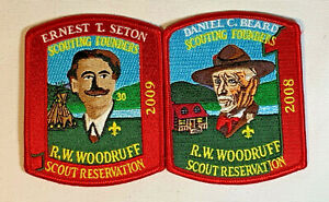 Lot of BSA R.W. Woodruff Scout Reservation 2008 & 2009 Pocket Patches No Loop