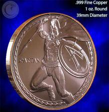 """""""Spartan Warrior"""" 1 oz .999 Copper Round Beautiful Design"""