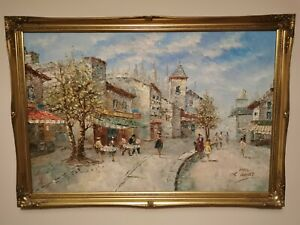 LOUIS CHARLES BASSET (1948-) LISTED ARTIST OIL PAINTING CAFE DE PARIS IN FRAME