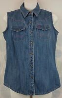 Wrangler Women's Size Small Denim Western Cowgirl Rodeo Blue Jean Vest