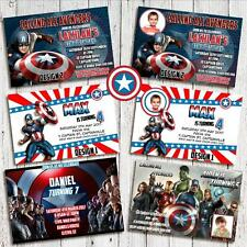 Personalised AVENGER CAPTAIN AMERICA Photo Birthday Invite Invitations YOU PRINT