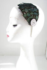 Dark Emerald Green & Silver Feather Headpiece Fascinator Headband Vtg 1940s Y57