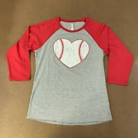 Live And Tell Women's Size XL Heather Gray Baseball Love 3/4 Sleeve Raglan Tee